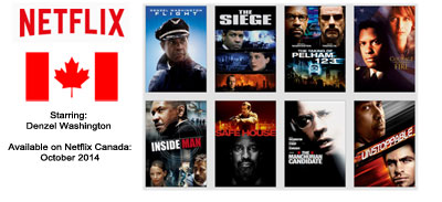 Denzel Washington - Streaming on Netflix Canada October 2014