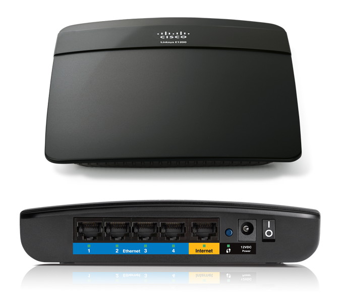 Front & Back view of Linksys Cisco E1200 N300 Wireless Router